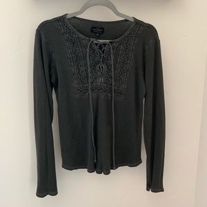 Lucky Brand Charcoal Detailed Long Sleeve